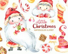 Little Christmas. Watercolor clipart Santa Claus by StarJamforKids