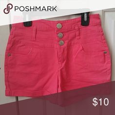 Pink High Waisted Jean Shorts Pink high waisted shorts, three silver buttons Shorts Jean Shorts