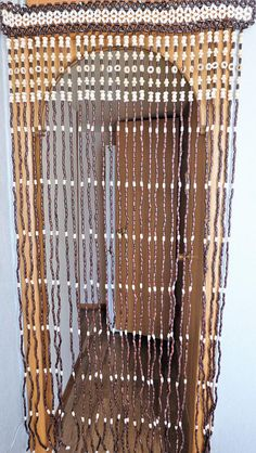 Vintage Wood Curtain, Door Beads, Beaded Curtains, Beaded Door ...