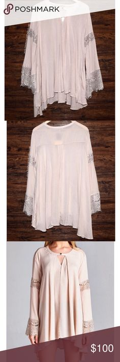 SWING TUNIC Lace Bell Sleeve Top A-Line Mini Dress Available Sizes: S, M, L. New with tags.  • Beautiful gauze swing tunic featuring lace trim detailing at long bell sleeves & hi-low silhouette. • This wardrobe stable is perfect for dressing up or down. • Draped, with keyhole button closure at neck and side hip pockets. • Unlined; lightweight.  • Measurements provided below.   {Southern Girl Fashion - Closet Policy}   ✔Bundle discount: 20% off 2+ items.   ✔️ Items are priced to sell…