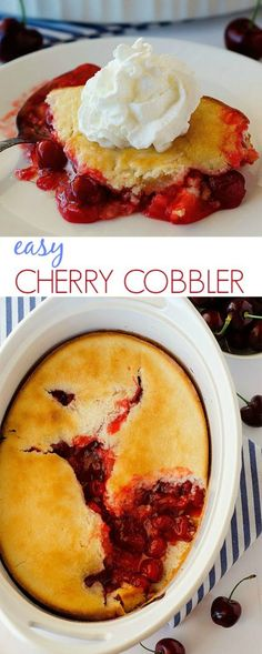 Easy Cherry Cobbler This cherry cobbler is the best. So easy! Cherry Desserts, Cherry Recipes, Easy Desserts, Delicious Desserts, Yummy Food, Easy Cherry Cobbler, Fruit Cobbler, Cobbler Recipe, Pastries