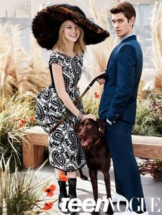 Emma Stone and Andrew Garfield on the set of their Teen Vogue photoshoot!! This was so adorable!