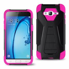 Reiko Samsung Galaxy J3 Hybrid Heavy Duty Case (Silicon Case+ Protector Cover) With Kickstand-Hot Pink Black