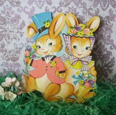 Vintage  Die Cut Bunny Couple Easter Decoration