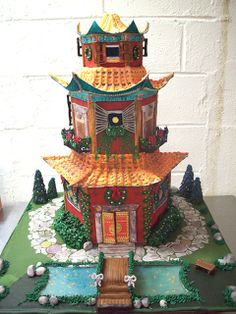 Asian-Style Gingerbread Houses