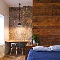 Nice contrasts...wood, brick, white, blue...