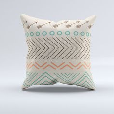 Aztec throw pillow, throw pillow, modern pillow, blue, turquoise, coral, aztec, arrow, home decor, couch, bedroom, modern