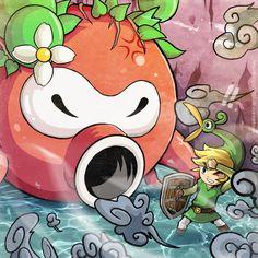 The Legend of Zelda: The Minish Cap | Toon Link, Ezlo, and Big Octorok / Link VS Big Octorok by Blopa1987 on deviantART