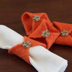 Set of 4 orange napkin rings Fall by LittleVoiceKnitting on Etsy, $18.00