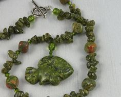 Green Fish 'n' Chips, green garnet and unakite beaded necklace by PaisleyLizardDesigns, $68.00