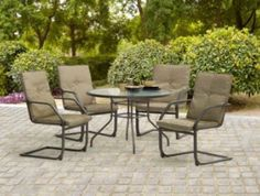 5 piece round dining set patio furniture glass top table u0026 4 chairs outdoor set
