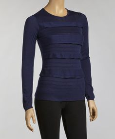 Take a look at this Navy Tiered Long-Sleeve Top by YAL on #zulily today!