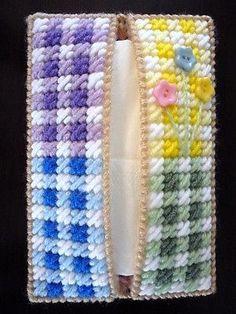 Mini Plastic Canvas Tissue Covers | Handmade Needlepoint Plastic Canvas Mini Tissue Cover - Floral Button ...