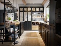 IKEA VADHOLMA island, cabinets and open storage shelves work with LERHYTTAN front cabinet doors to create a rustic kitchen layout, but with a modern twist. Kitchen Ikea, Rustic Kitchen, New Kitchen, Kitchen Storage, Kitchen Decor, Storage Shelves, Kitchen Island, Open Shelves, Kitchen Cabinets