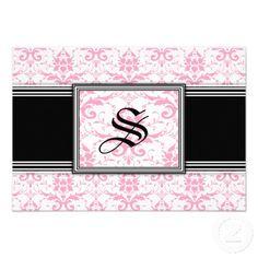 Pink Damask RSVP cards