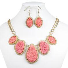 Pink Druzy Tone Necklace Earrings Set, Bib Statement Necklace Pierced Hoop Earring, Jewelry Set-154315638 on Etsy, $9.99