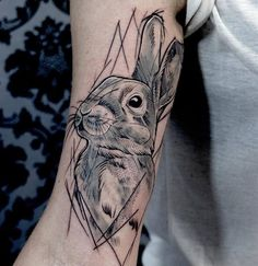 Sketchy Rabbit Tattoo by kattkottattoo
