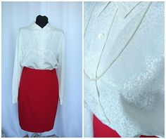 white secretary 80s vintage  blouse elegant  XL L long sleeve blouse large  collar work  blouse size plus / FREE vintage SHAWL /