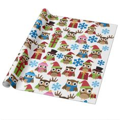 Shop Christmas Owls Wrapping Paper created by JunkyDotCom. Personalize it with photos & text or purchase as is! Christmas Owls, Christmas Photo Cards, Christmas Gift Wrapping, Merry Christmas And Happy New Year, Christmas Themes, Christmas Gifts, Celebrating Christmas, Christmas Decorations, Gift Wrapping Supplies