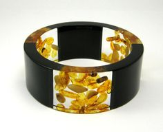 Triple Amber Bracelet Clear and Black Resin Bangle by sisicata