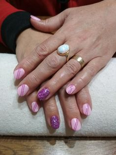 pink gel, purple glitter and pink stripes
