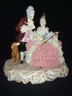 Antique German Porcelain Dresden Volkstedt Couple with Dog | eBay