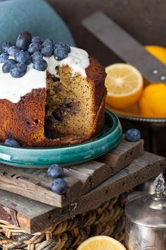 This Lemon & Blueberry cake is doubly enriched with the juice and zest of the fresh lemon. Poppy seeds stirred into a almond batter give f...