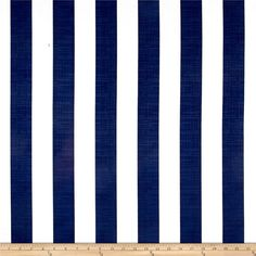 Richloom Solarium Outdoor Classic Stripe Navy from @fabricdotcom  Screen printed on polyester, this slub Solarium Outdoor fabric will withstand up to 500 hours of sunlight exposure, resists stains, is water resistant and has 10,000 double rubs. Perfect fabric for porches, patios, deck side, pool side and boat side create toss pillows, cushions, upholstery and great for tabletop, tote bags and more. To maintain the life of the fabric bring indoors when not in use. This fabric can easily be…