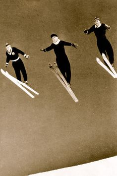 Vintage Ski Photo - Three Skiers Jumping