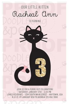 Plan the Purrr-fect Birthday Party for your little Kitten with our Printable Kitten Birthday Invitation! This Cat Invitation is the right mix of