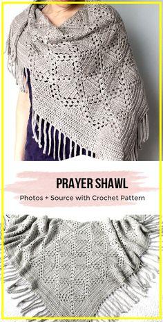 Prayer Shawl Crochet Pattern, Prayer Shawl Patterns, Crochet Prayer Shawls, Crochet Shawl Free, Crochet Shawls And Wraps, Crochet Scarves, Crochet Clothes, One Skein Crochet, Crochet Stitches