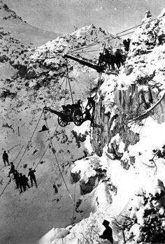 Italian alpini taking artillery to the top of a mountain, WWI Impressive.