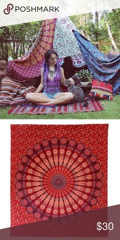 "Festival bed wall floor spread hippy boho gift Make an offer to get good deals! 😃🎊🎁💰  Brand new.Handmade with natural dyes.   Uses: bed spread, couch spread, curtains, wallhangings, Celling decor, beach mat, picnic mat, table cloth, 🕉 yoga & meditation.  📐Size: 90"" X 84"" inch ( Queen bed)   🎀Material;💯% Cotton  🚿Wash: cold wash  ➡️Website: http://www.rhyayfashion.com Other"