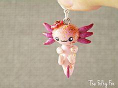 Handmade Cute Axolotl Charm Tiny Polymer Clay Charm Girl