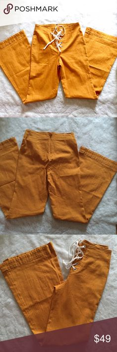 """NWOT free people Sz 0 mustard bell bottom pants Wow!! Just beautiful new without tags, 31.5"""" long Free People Pants Boot Cut & Flare"""