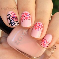 Valentine's Day Nail art. Pink nails. Heart nail design. Love. Zoya Polish. Polished.