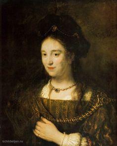 """Painting """"Saskia, de vrouw van de kunstenaar"""" by Rembrandt Harmenszoon Van Rijn - www.schilderijen.nu"""