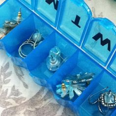 MEDICINE KEEPERS: help keep trsck of tons of tiny items with this dollar store items, like earrings (and they can be kept by days of the week or per outfit), bracelets, etc.