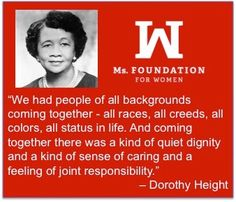 Dr. Dorothy I. Height was a #socialworker, public speaker and #communityorganizer. As a member of Delta Sigma Theta Sorority, Inc and the president of the NCNW she addressed the rights of both women and African Americans. Height helped organize the 1963 March on Washington. #BlackHistory #ForWomen #BlackHistoryMonth #Diversity