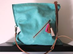 Aqua crossbody bag Leather cross body purse Mint by Percibal, $170.00