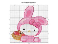 Dibujos Punto de Cruz Gratis: Hello Kitty cross stitch pattern - Punto de cruz