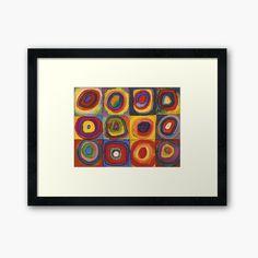 Disability Art, Kandinsky, Centerpiece Decorations, Custom Boxes, Framed Art Prints, Circles, Squares, My Arts, Printed