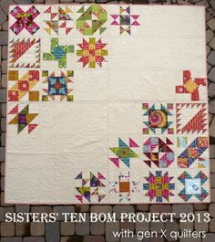 """I love the layout in this """"Sisters' Ten BOM Sampler Quilt."""" Pattern available for $15. (Enlarge pin for full effect.)"""
