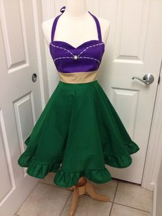 This is an adult size Ariel costume apron. Made with an empire waist, it is a beautiful way to dress up your baby bump. Can also be worn after baby. Disney Princess Aprons, Disney Aprons, Disney Princesses, Dress Up Aprons, Cute Aprons, Ariel Disney, Goth Disney, Ariel Costumes, Techniques Couture