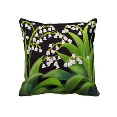 Lily of the Valley Flowers Pillow by twopurringcats