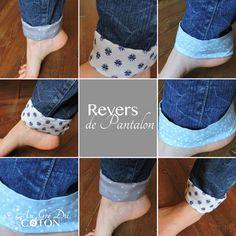 Revers de pantalon amovibles  Marre de votre jean ? Vous voulez le personnaliser facilement, c'est possible avec les revers de pantalon amovibles.  Glissez-les sous votre pantalon au niveau de votre cheville et retroussez plus ou moins selon votre goût. Et tadam ! Vous avez un nouveau jeans.  #reversdejeanamovibles