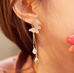 Sweet Princess Drill Butterfly Synthetic Crystal Drop Earrings for Girls--Cheap Wholesale