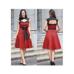 Red Polka Dot Print Patchwork Backless Sashes Band Collar Midi Dress - MalangFashion