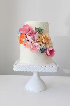 Pastel flower wedding cake