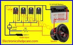 easy amplifier circuit diagram using only - Electronics Help Care Diy Subwoofer, Subwoofer Box Design, Class D Amplifier, Car Audio Amplifier, Speakers, Electronics Basics, Electronics Projects, Electronics Components, Electrical Circuit Diagram